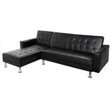 Sofa tapicerowana Chaise rozkładana czarna