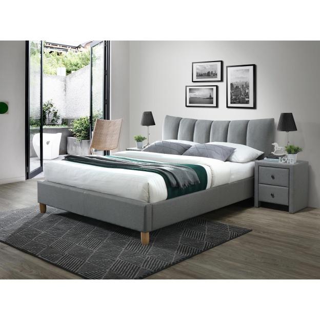 łóżko Do Sypialni Caris 160x200 Szare Zagłówek