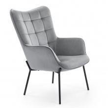 Fotel welurowy Corin szary/czarny glamour
