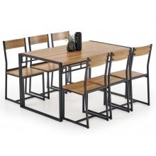 Zestaw kuchenny Pasa stół 140x80 cm + 6 krzeseł dąb złoty