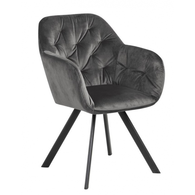Krzesło z podłokietnikami Lila pikowane welur szary