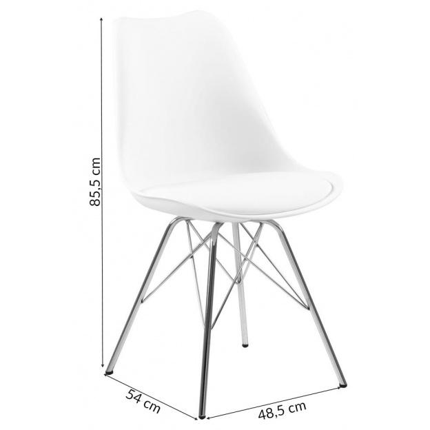 Krzesło skandynawskie Eras białe nogi chromowane