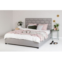 Łóżko tapicerowane Honey 160x200 szare ze stelażem