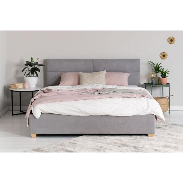 łóżko Tapicerowane Malden 160x200 Szare Z Szufladą